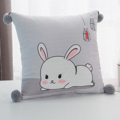 2019新款-方型抱枕 45x45cm/个 小白兔灰