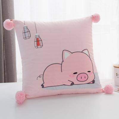 2019新款-方型抱枕 45x45cm/个 萌宠小猪粉