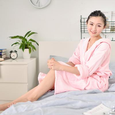 2019新款-家居小物(浴袍成人) 衣长120cm 胸围135cm 袖长60 粉色浴袍