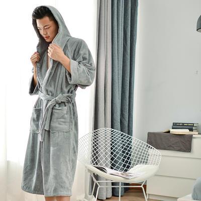 2019新款-家居小物(浴袍成人) 衣长120cm 胸围135cm 袖长60 灰色浴袍