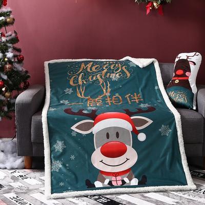 2019新款-圣诞系列毯子 100*145cm/条 一鹿相伴绿