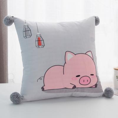 2019新款-方型抱枕 45x45cm/个 萌宠小猪灰