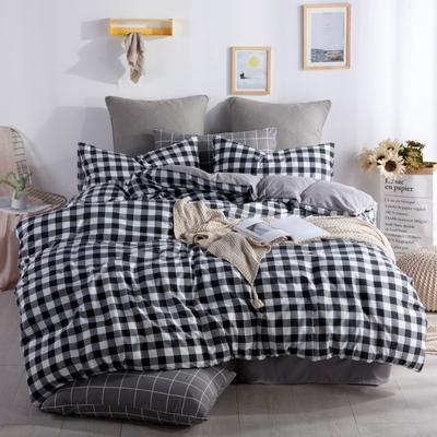 2019新款-水洗棉四件套 1.5m(5英尺)床 黑白格