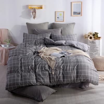2019新款-水洗棉四件套 1.5m(5英尺)床 灰中格