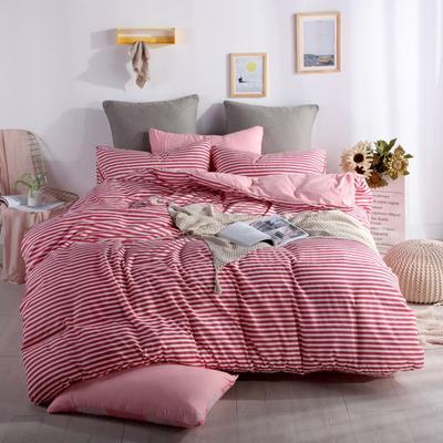 2019新款-水洗棉四件套 1.5m(5英尺)床 细条红