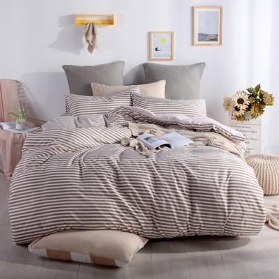 2019新款-水洗棉四件套 1.5m(5英尺)床 细条咖