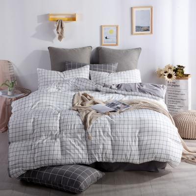 2019新款-水洗棉四件套 1.5m(5英尺)床 小白格