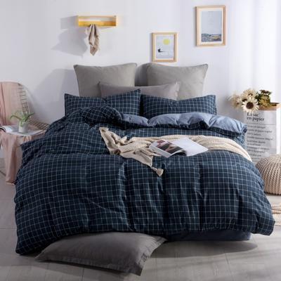 2019新款-水洗棉四件套 1.5m(5英尺)床 小蓝格