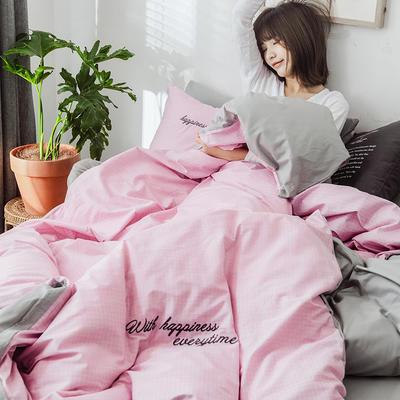 2019新款-全棉肌理纹绣花四件套 2.0m(6.6英尺)床 爱罗伊-粉色