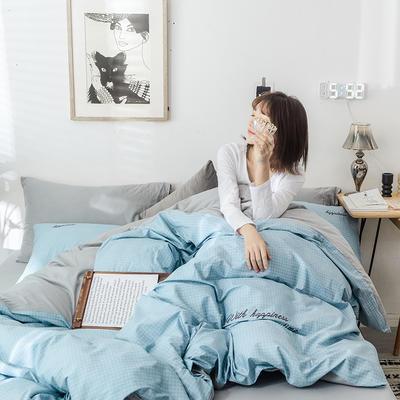 2019新款-全棉肌理纹绣花四件套 2.0m(6.6英尺)床 爱罗伊-湖蓝