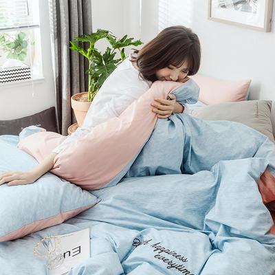 2019新款-全棉肌理纹绣花四件套 1.5m(5英尺)床 格蕾丝-蓝色