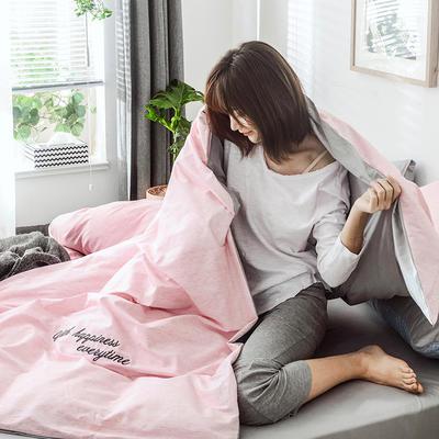 2019新款-全棉肌理纹绣花四件套 2.0m(6.6英尺)床 格蕾丝-浅粉