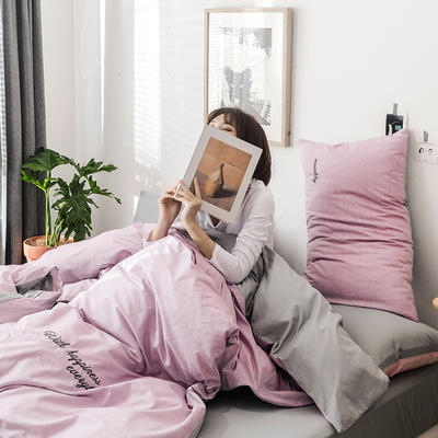 2019新款-全棉肌理纹绣花四件套 2.0m(6.6英尺)床 格蕾丝-浅紫