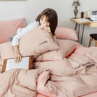 2019新款-全棉肌理纹绣花四件套 1.5m(5英尺)床 格蕾丝-驼色