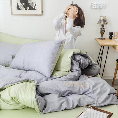 2019新款-全棉肌理纹绣花四件套 2.0m(6.6英尺)床 罗兰-灰色