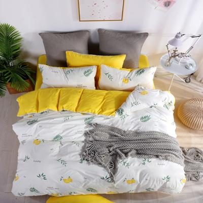 2019新款-水洗棉四件套 1.5m(5英尺)床 柠檬