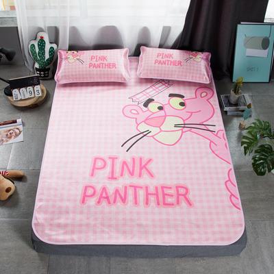 2019新款-小清新冰丝凉席 1.5m(5英尺)床 粉红豹格子