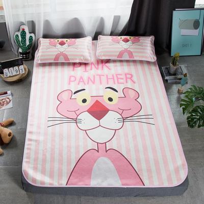 2019新款-小清新冰丝凉席 1.5m(5英尺)床 粉红豹条纹