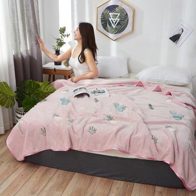 2019新款-雪花绒毛毯 1.2*2.0 仙人掌