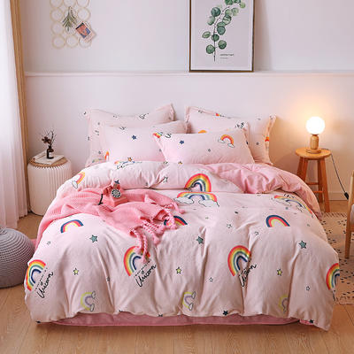 2019新款-牛奶绒宝宝绒水晶绒保暖绒魔法绒法莱绒双拼印花四件套 床单款1.5m(5英尺)床 朵拉