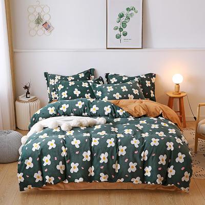 2019新款-牛奶绒宝宝绒水晶绒保暖绒魔法绒法莱绒双拼印花四件套 床单款1.8m(6英尺)床 花海