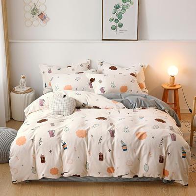 2019新款-牛奶绒宝宝绒水晶绒保暖绒魔法绒法莱绒双拼印花四件套 床单款1.5m(5英尺)床 萌小兔