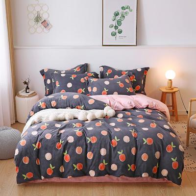 2019新款-牛奶绒宝宝绒水晶绒保暖绒魔法绒法莱绒双拼印花四件套 床单款1.8m(6英尺)床 蜜橙