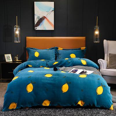 2019新款-牛奶绒宝宝绒水晶绒保暖绒魔法绒法莱绒双拼印花四件套 床单款1.8m(6英尺)床 果乐果香(蓝)