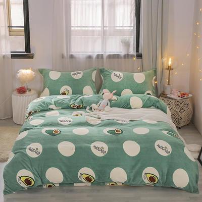 2019新款-牛奶绒宝宝绒水晶绒保暖绒魔法绒法莱绒双拼印花四件套 床单款1.8m(6英尺)床 牛油果(绿)