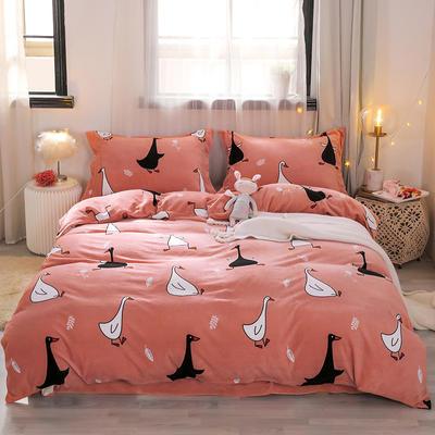 2019新款-牛奶绒宝宝绒水晶绒保暖绒魔法绒法莱绒双拼印花四件套 床单款1.5m(5英尺)床 顽皮鹅(桔)