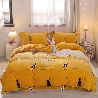 2019新款-牛奶绒宝宝绒水晶绒保暖绒魔法绒法莱绒双拼印花四件套 床单款1.8m(6英尺)床 小猫咪(黄)
