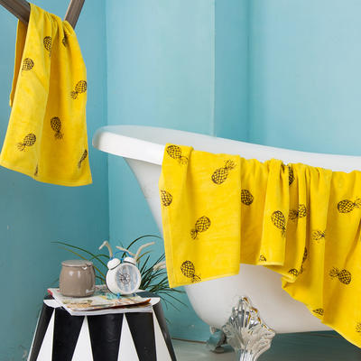 2020新款 -独家全棉大版印花毛巾浴巾 面巾35*75cm 菠萝