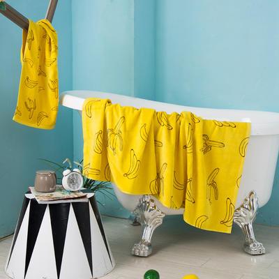 2020新款 -独家全棉大版印花毛巾浴巾 面巾35*75cm 香蕉