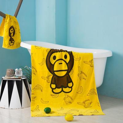 2020新款 -独家全棉大版印花毛巾浴巾 面巾35*75cm 香蕉小猴