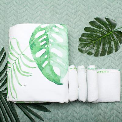 2020新款 -独家全棉大版印花毛巾浴巾 面巾35*75cm绿叶白