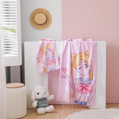 2020新款 -独家全棉大版印花毛巾浴巾 面巾35*75cm 美少女1#