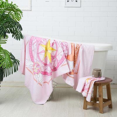 2020新款 -独家全棉大版印花毛巾浴巾 面巾35*75cm 魔法小樱