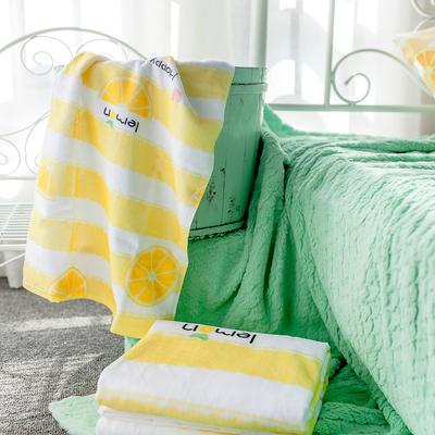 2020新款 -独家全棉大版印花毛巾浴巾 面巾35*75cm 柠檬