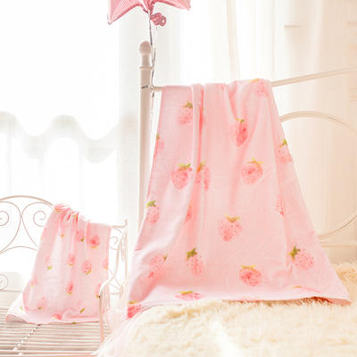 2020新款 -独家全棉大版印花毛巾浴巾 面巾35*75cm 小草莓