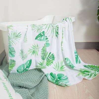 2020新款 -独家全棉大版印花毛巾浴巾 浴巾70*140cm绿叶白