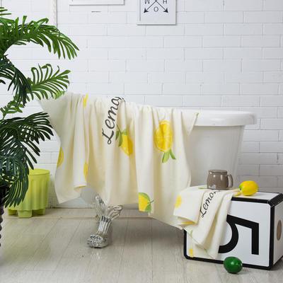 2020新款 -独家全棉大版印花毛巾浴巾 浴巾70*140cm柠檬c