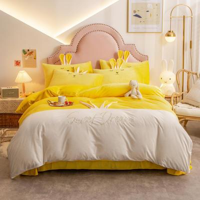 2020新款-水晶绒萌萌兔刺绣四件套 1.5m床单款四件套 亮黄白