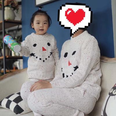 亲子款雪人套装(儿童款) M 粉色