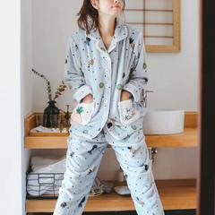 珊瑚绒三色款套装(菠萝款) M 浅蓝