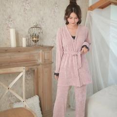 2018新款-厚毛巾绒三件套 均码/适合135斤以内 粉色