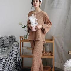 2018新款-麻花毛巾套装 均码/135斤以内 咖啡色