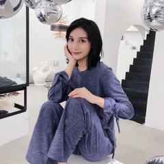2018新款-针织彩棉蝴蝶袖 M/适合120斤 蓝色