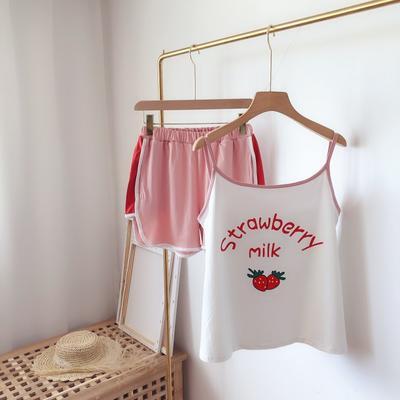 2019新款-草莓吊带套装 L 粉色