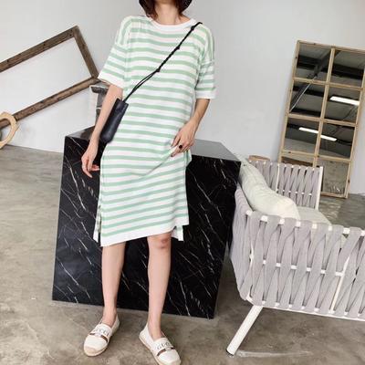 2019新款-条纹裙 均码 绿色