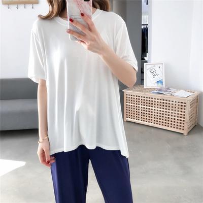 2019新款-撞色莫代尔套装长款 均码 白色